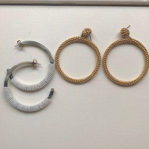 Set of 2 J.Crew Hoop statement earrings